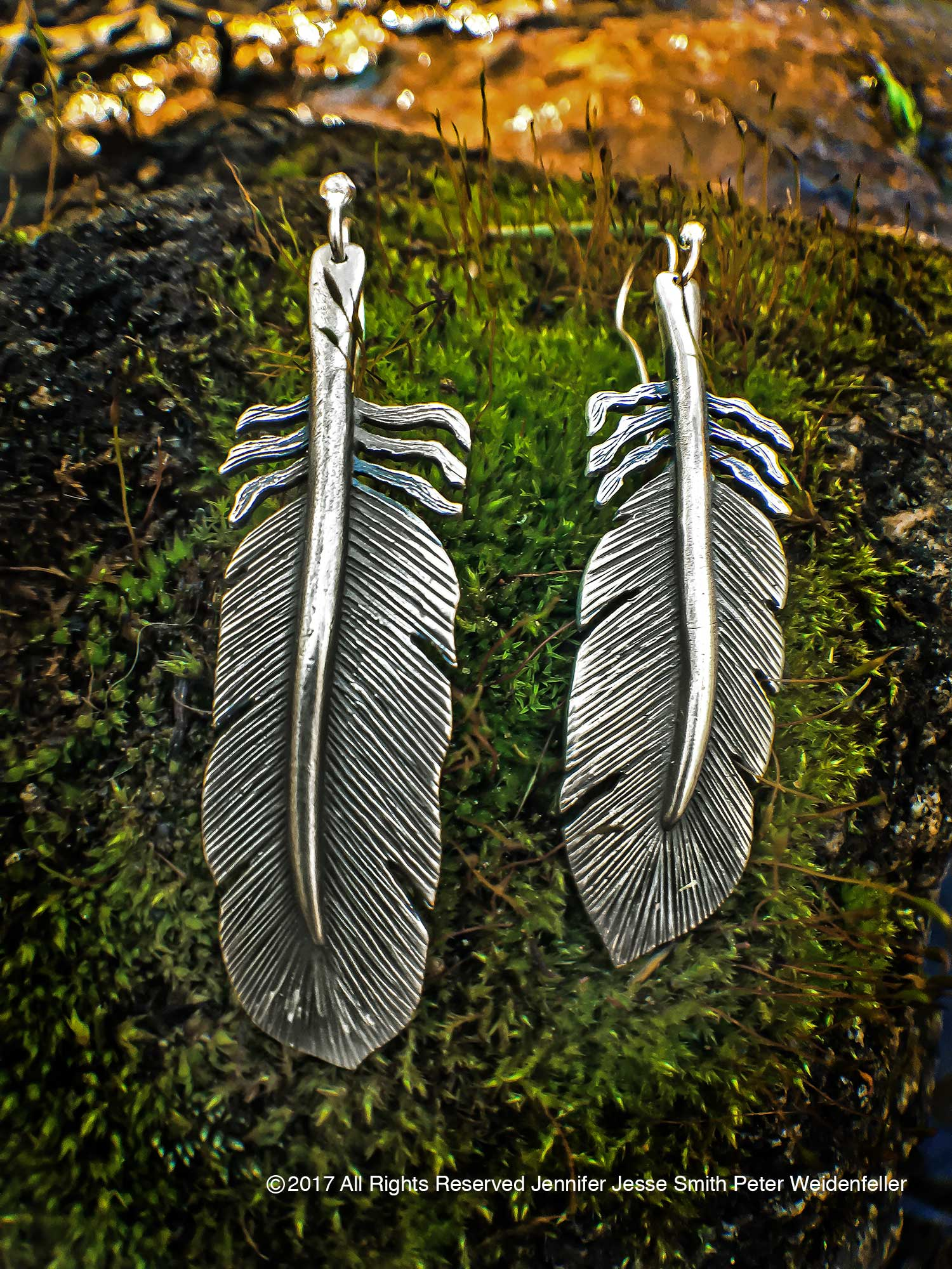 green img feathered earrings feather